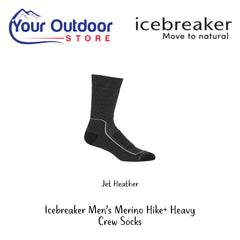 Jet Heather | Icebreaker Mens Merino Hike Plus Heavy Crew Socks