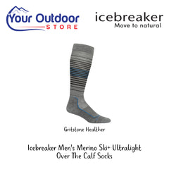 Gritstone Heather | Icebreaker Mens Merino Ski Plus Ultralight Over The Calf Socks
