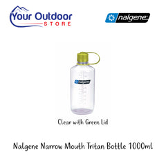 Clear With Green Lid | Nalgene Narrow Mouth Tritan Drink Bottle 1000ml