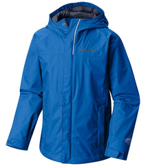 Super Blue | Columbia Youth Watertight Rain Jacket. Front of jacket zipped up