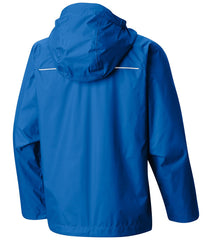 Super Blue | Columbia Youth Watertight Rain Jacket. Back of Jacket with Hood Down