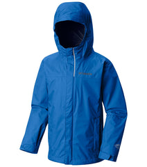 Super Blue | Columbia Youth Watertight Rain Jacket. Front of jacket zipped up with hood up
