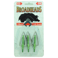 Redzone Broadheads 2 Blade shown in packaging | Sliver/Green