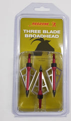 Redzone Broadheads 3 Blade shown in packaging | Red Black and Silver | Your Outdoor Store