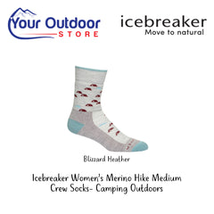 Blizzard Heather | Icebreaker Womens Merino Hike Medium Crew Socks Camping Outdoors
