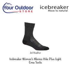 Jet Heather | Icebreaker Womens Merino Hike Plus Light Crew Socks