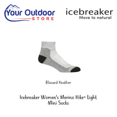 Blizzard Heather | Icebreaker Womens Merino Hike Plus Light Mini Socks