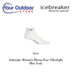 White | Icebreaker Womens Merino Run Plus Ultralight Mini Socks