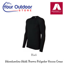 Black | Adventureline Thermo Polyester Viscose Unisex Long Sleeve Crewe