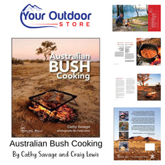 Australian Bush Cooking by Cathy Savage and Craig Lewis. Hero Image with logo and page previews