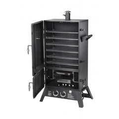 Black | Hark Big Boss Gas Smoker. Front with doors open