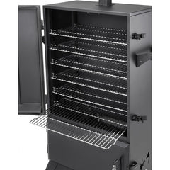 Black | Hark Big Boss Gas Smoker. Details of shelving