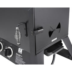 Black | Hark Big Boss Gas Smoker. Vent, drip tray and door handle details