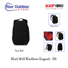 Jet Black True Red | Black Wolf Blackburn Daypack- Hero