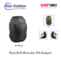 Jet Black | Black Wolf Minimalist 45 Backpack. Hero