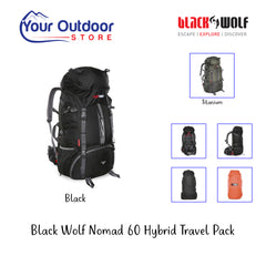 Black | Black Wolf Nomad 60 Hybrid Travel Pack- Hero Image