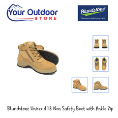 Wheat | Blundstone unisex 418 non safety boot with ankle zip varied views.