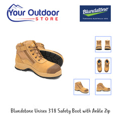 Wheat | Blundstone Unisex 318 Safety Boot With Ankle Zip. Hero