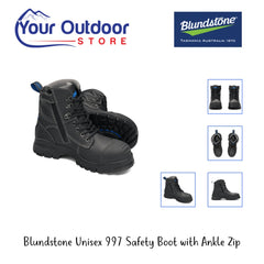 Black | Blundstone Unisex 997 Safety Boot With Ankle Zip. Hero