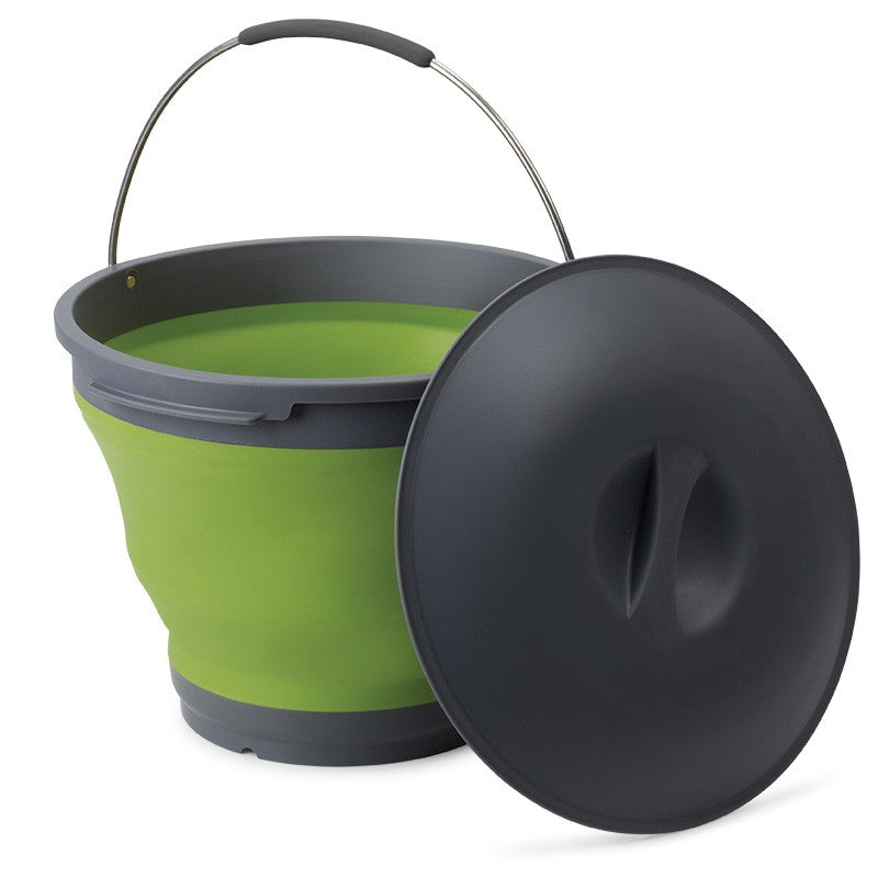 Companion Pop Up Bucket 9.5 litres Green With grey Lid