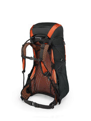 Blaze Black | Osprey Exos 38. Back of bag showing mesh and straps