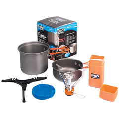 360 Degrees Furno Stove and Pot Set. Contents Shown Next to Packaging