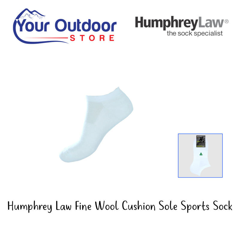 White | HumphreyLaw Fine Wool Cushion Sole Sports Sock. 36A