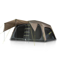 Zempire Jetset 10 Air Tent. Front with awing up