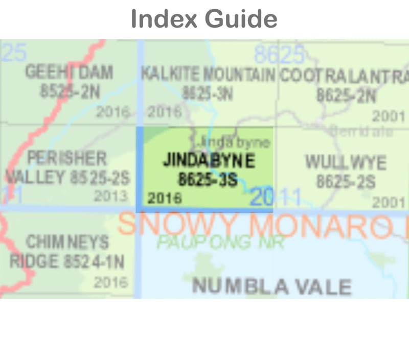 Jindabyne 8625-3-S NSW Topographic Map 1:25k