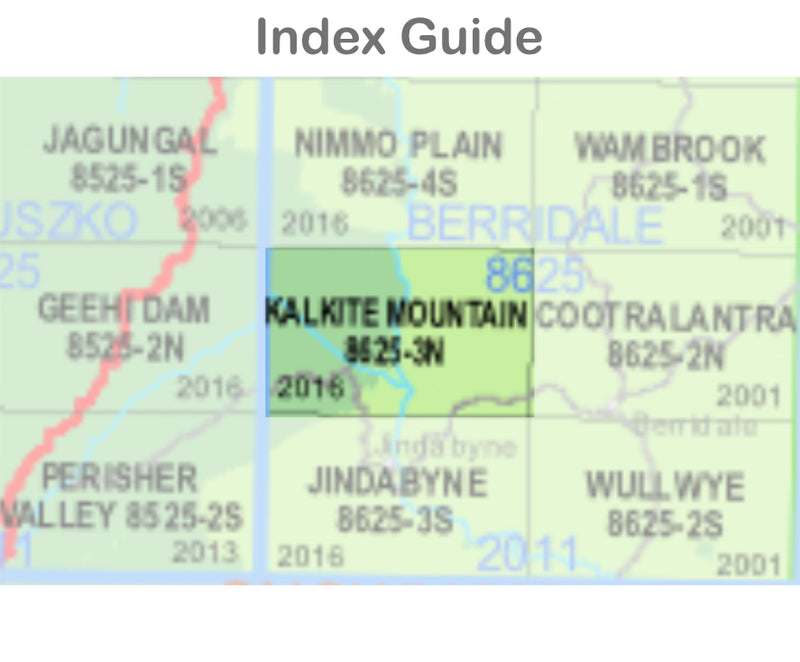 Kalkite Mountain 8625-3-N NSW Topographic Map 1:25k
