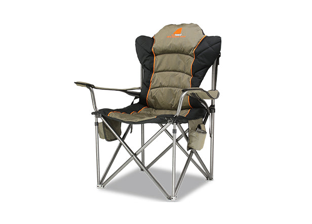 Oztent King Goanna Chair. Khaki. Set up View. Your Outdoor Store