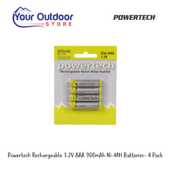 Powertech Rechargeable 1.2V AAA 900mAh Ni-MH Batteries- 4 Pack