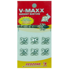 Redzone V Maxx Varmint Busters shown in packaging, red at the top white in the middle and yellow down the bottom and the washers displayed in 2 lines of 3 | Your Outdoor store