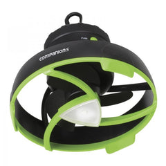 Companion Tent Fan With LED Light. Black with Green Trim