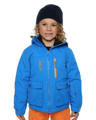 Bright Blue | XTM Kamikaze Kids Water Proof Jacket. Image depicts model wearing the bright blue colored jacket shown from the front. Your Outdoor Store