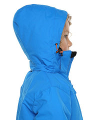 Bright Blue | XTM Kamikaze Kids Water Proof Jacket. Image depicts model wearing the bright blue colored jacket shown close up from the side with Hood on. Your Outdoor Store