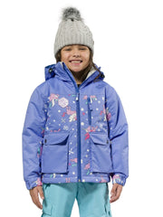 Cornflower | XTM Kamikaze Kids Water Proof Jacket. Image depicts model wearing the Cornflower colored jacket shown from the front. Your Outdoor Store