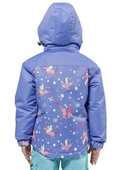 Cornflower | XTM Kamikaze Kids Water Proof Jacket. Image depicts model wearing the cornflower colored jacket shown from the Back with Hood on. Your Outdoor Store
