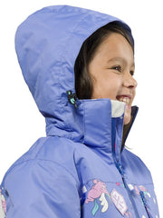Cornflower | XTM Kamikaze Kids Water Proof Jacket. Image depicts model wearing the Cornflower colored jacket shown close up from the side with Hood on. Your Outdoor Store