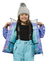 Cornflower | XTM Kamikaze Kids Water Proof Jacket. Image depicts model wearing the Cornflower colored jacket showing the inside of the jacket with the zipper open. Your Outdoor Store