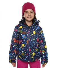 Monster | XTM Kamikaze Kids Water Proof Jacket. Image depicts model wearing the Monster colored jacket shown from the front. Your Outdoor Store