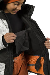 Grey Concrete | XTM Xavier Kids Jacket. Modeled Front view with zipper open exposing lift pass pocket. Your Outdoor Store