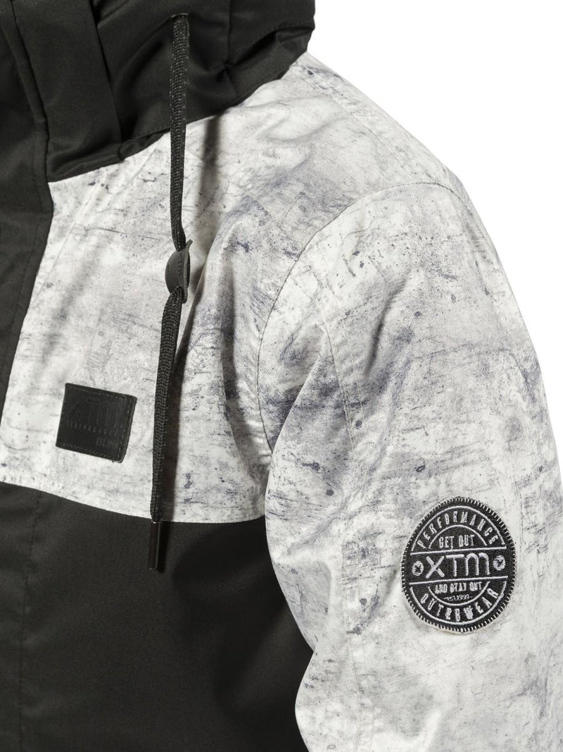 Grey Concrete | XTM Xavier Kids Jacket. Modeled Front view zipped up. Your Outdoor Store