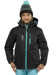 XTM Kamikaze Youth Water Proof Jacket. Image of model showing the Black Floral coloured jacket from the front