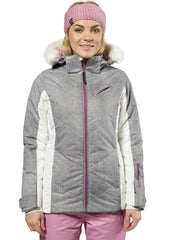 XTM Pia Snow Jacket Plus Size. Modeled Front view. Grey Denim Colour.
