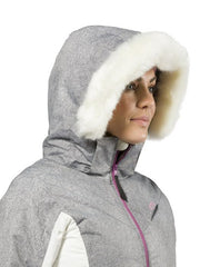 XTM Pia Snow Jacket Plus Size. Modeled Close up hooded view. Grey Denim Colour.