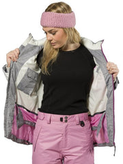 XTM Pia Snow Jacket Plus Size. Modeled Front open jacket view showing inside the front panels. Grey Denim Colour.