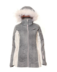 Grey/White | XTM Womens Thea Snow Jacket without model from the front