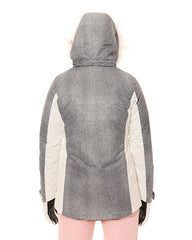 Grey/White | XTM Womens Thea Snow Jacket. Modelled Back View with Hood on
