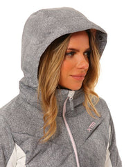 Grey/White | XTM Womens Thea Snow Jacket. Modeled close up view of hood on from the front
